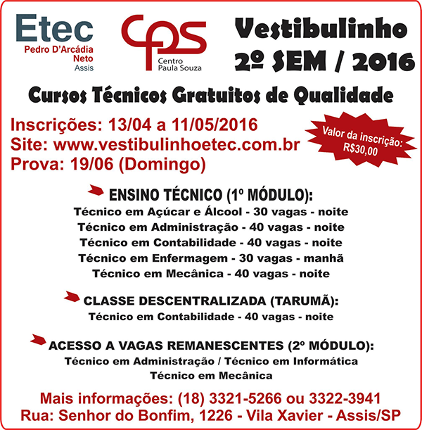 Vestibulinho 2-2016 - Etec Assis